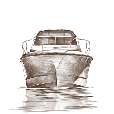 the boat floats with the nose forward of the reflection in the waves, monochrome sketch vector illustration in graphic style