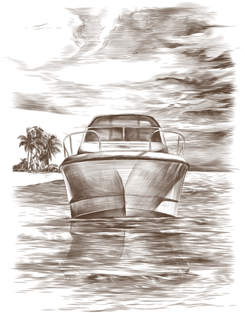 picture postcard depicting a yacht floating nose forward on the water against the sky with clouds and an island with palm trees in the distance, sketch vector monochrome illustration in graphic style