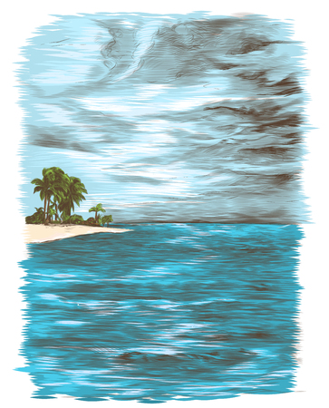 tropical landscape depicting calm sea sky with clouds and a small island with palm trees in the distance, sketch vector color illustration in graphic style