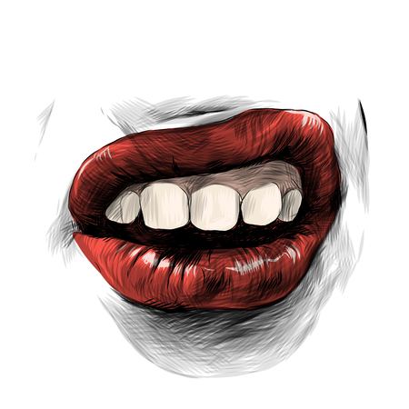 female lips with red lipstick emotion audacity, sketch vector graphics