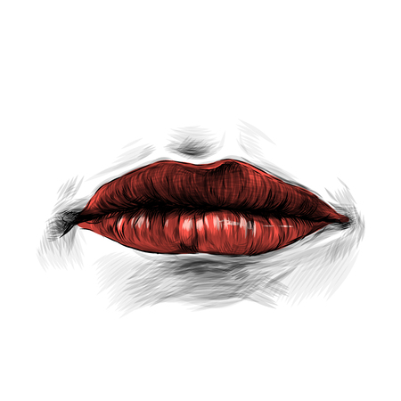 womens lips with red lipstick without emotion, sketch vector graphic Ilustração