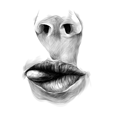 nose and female lips tongue stick out sideways, sketch vector graphics monochrome illustration