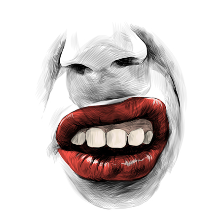 nose and female lips with red lipstick emotion audacity, sketch vector graphics