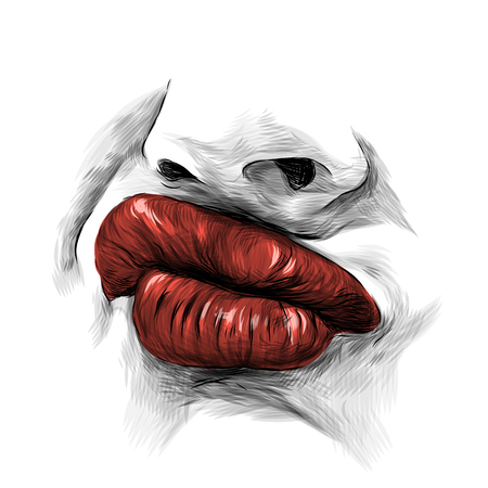 nose and female lips with red lipstick emotion importance and fashionable girl, sketch vector graphics Illustration