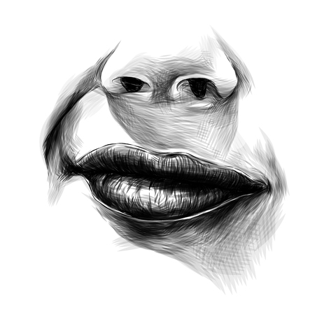 nose and female lips and a slight smile with a raised area, sketch vector graphics monochrome illustration