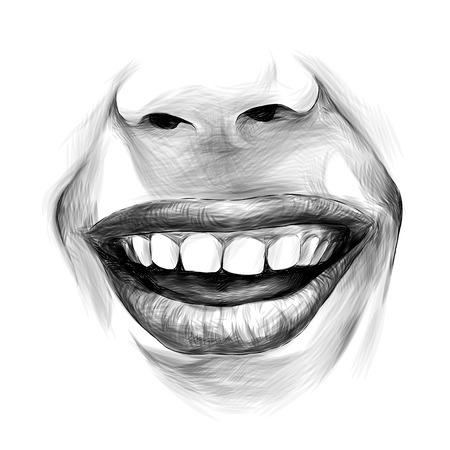 nose and female lips wide kind smile, sketch vector graphics monochrome illustration Banque d'images - 102401790