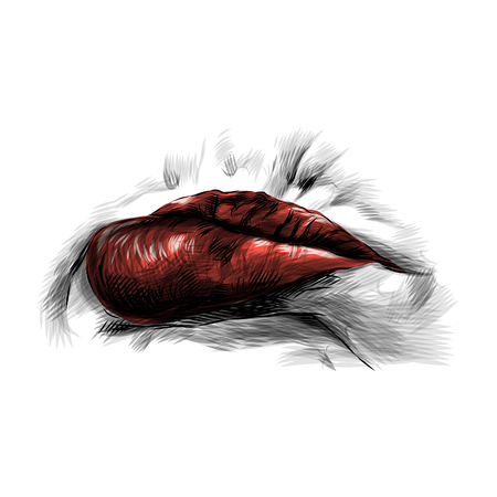 female lips with red lipstick emotion resentment with protruding lower lip, sketch vector graphic