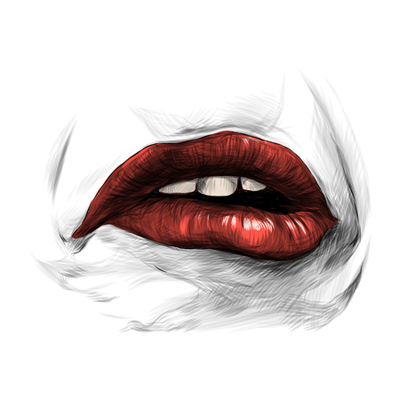 female lips with red lipstick emotion of sadness disorder and disgust, sketch vector graphics Illustration