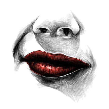 nose and feminine lips with red lipstick, a faint smile with a raised area, sketch vector graphics