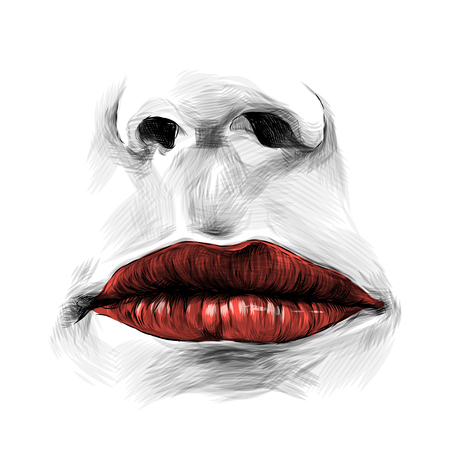 nose and female lips with red lipstick without emotion, sketch vector graphic