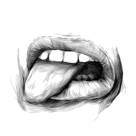 womens lips emotion of disgust and dislike, sketch vector graphics monochrome illustration