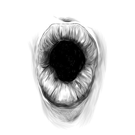 womens lips emotion of surprise, sketch vector graphics monochrome illustration