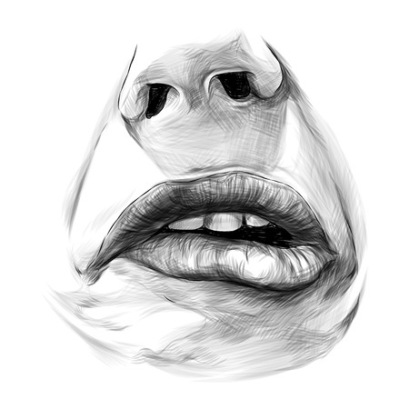nose and feminine lips, the emotion of sadness frustration and disgust, sketch vector graphics monochrome illustration