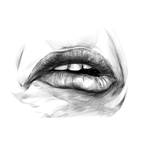 feminine lips, the emotion of sadness frustration and disgust, sketch vector graphics monochrome illustration
