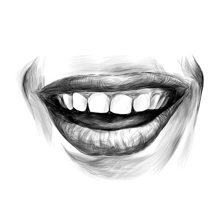 women's lips wide kind smile, sketch vector graphics monochrome illustration Banque d'images - 102401851