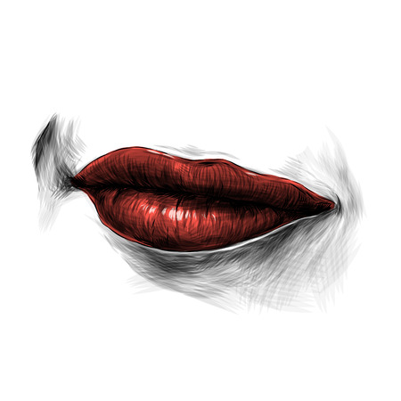 feminine lips with red lipstick, a faint smile with a raised area, sketch vector graphics