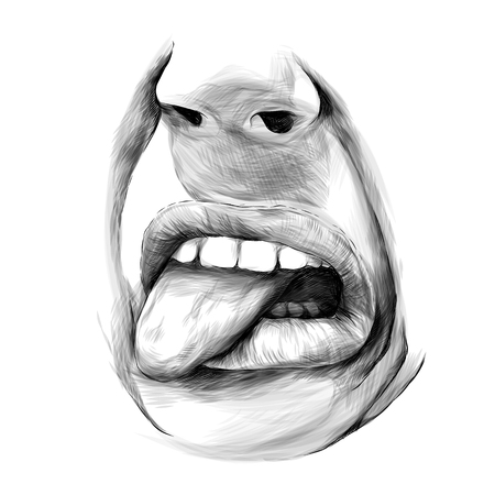 nose and female lips emotion of disgust and dislike, sketch vector graphics monochrome illustration Illustration