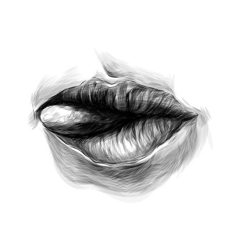 female lips tongue stick out sideways, sketch vector graphics monochrome illustration Illustration