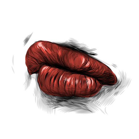 female lips with red lipstick emotion importance and fashionable girl, sketch vector graphics Illustration