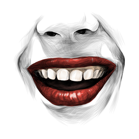 nose and female lips with red lipstick broad kind smile, sketch vector graphic
