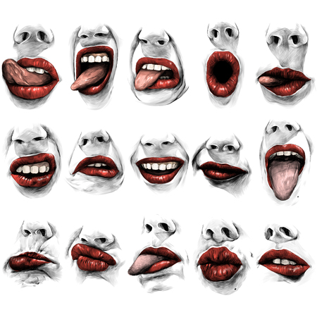 set of fifteen female lips with a nose of different emotions, make faces and stick out tongues, lips with red lipstick sketch vector graphics
