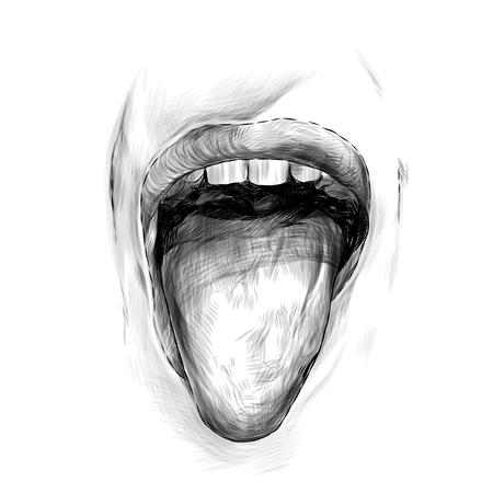 Los labios de las mujeres abren la boca y la lengua hacia afuera, boceto ilustración monocroma de gráficos vectoriales