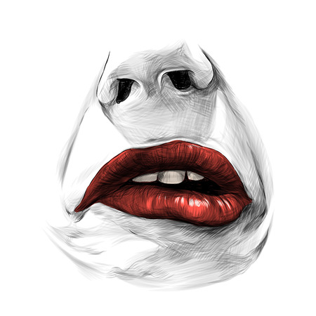 nose and female lips with red lipstick emotion of sadness disorder and disgust, sketch vector graphics