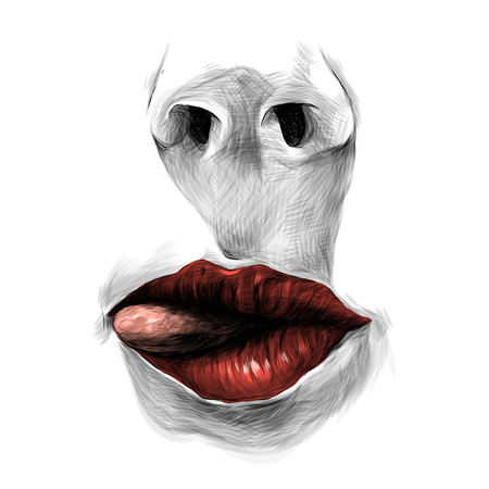 nose and female lips with red lipstick tongue stick out sideways, sketch vector graphics