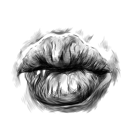 womens lips in the form of kissing, sketch vector graphics monochrome illustration