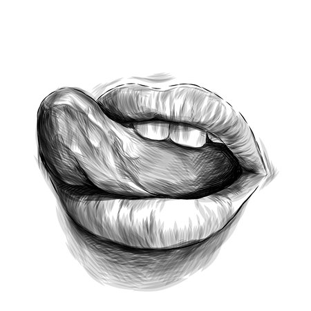 feminine lips, the emotion of sexuality and passion with his tongue hanging out, sketch vector graphics monochrome illustration