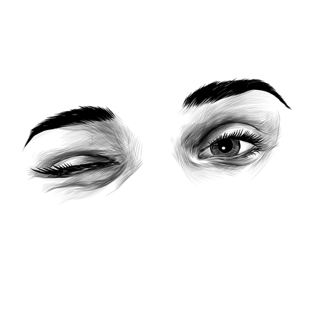 womens eyes wink and flirting, sketch vector graphics monochrome illustration Illustration
