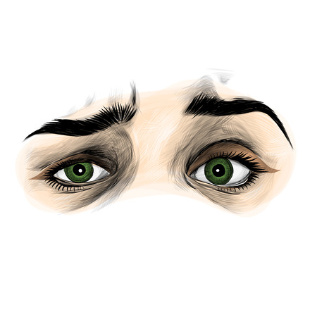 womens eyes with emotion of contempt and misunderstanding, sketch vector graphics color illustration