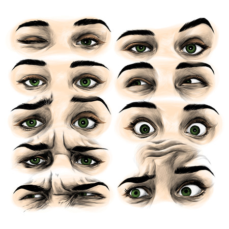 set of female eyes with different emotions, sketch vector graphic color illustration