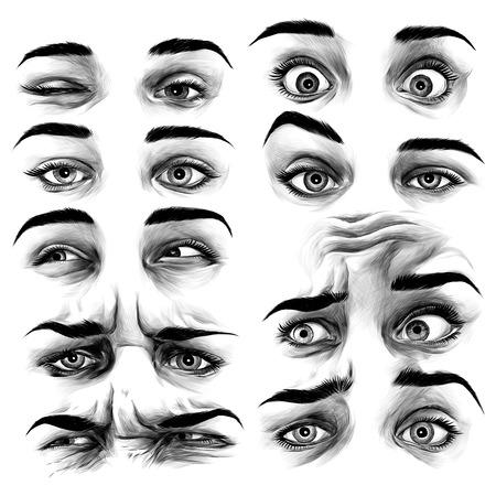 set of female eyes with different emotions, sketch vector graphics monochrome illustration Ilustração