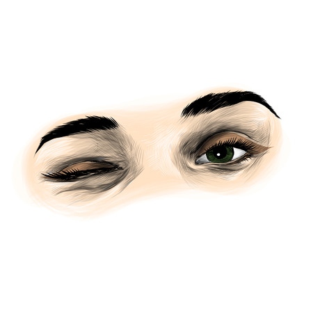 female eye winking and flirting, sketch vector graphics color illustration