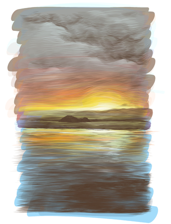 water surface with sunset reflection with small tropical island in the distance, sketch vector graphics color drawing Illustration