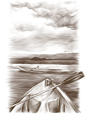canoes float on the water one stands sideways the second only visible front, sketch vector graphics monochrome drawing Фото со стока - 102402212