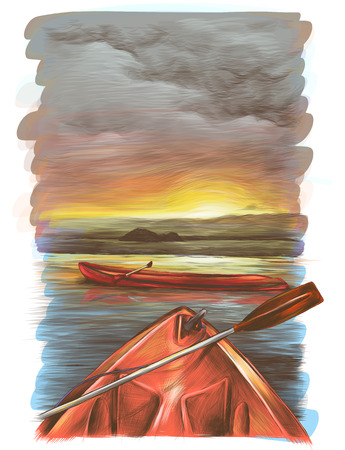 canoes float on the water at sunset one is sideways the second is only visible the front, the sunset is reflected in the water, sketch vector graphics color illustration
