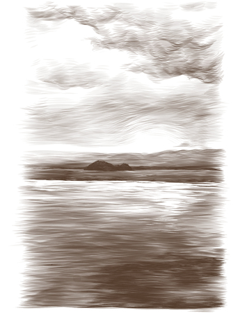 water surface and cloudy sky with a small tropical island in the distance, sketch vector graphics monochrome drawing