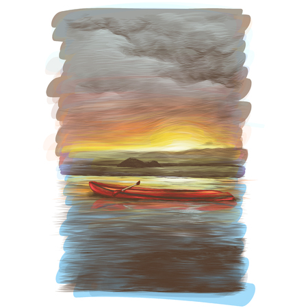 canoe floats on the water at sunset which is beautifully reflected in the water, sketch vector graphics color illustration Иллюстрация