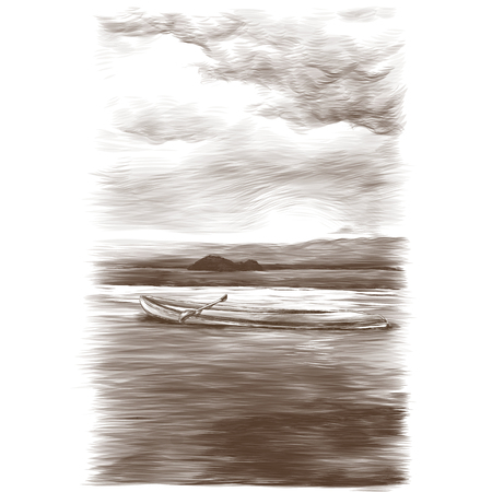 canoe floating on water on sea and small island background in the distance, sketch vector graphics monochrome illustration