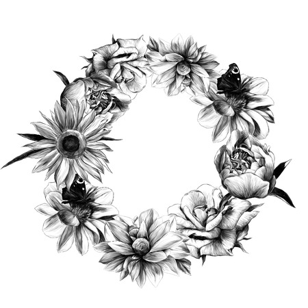 round frame of flowers dahlias peonies of sunflower and rose with butterfly and leaves on white background, sketch vector graphics monochrome illustration