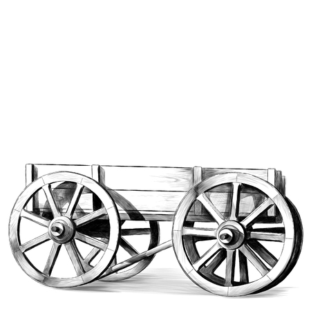 wooden cart with big wheels on white background, sketch vector graphics monochrome illustration