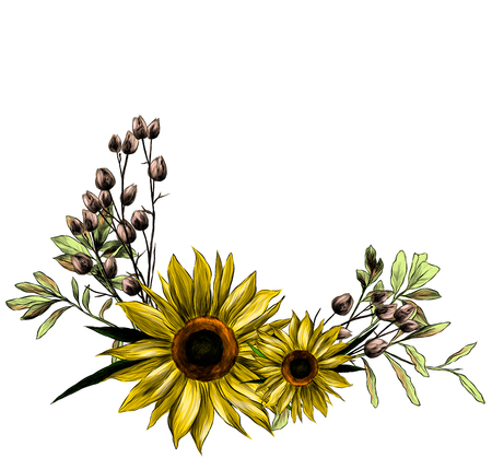 wreath in the form of a bouquet of two sunflower leaves and dry grass, sketch vector graphics color illustration Stok Fotoğraf - 112584120
