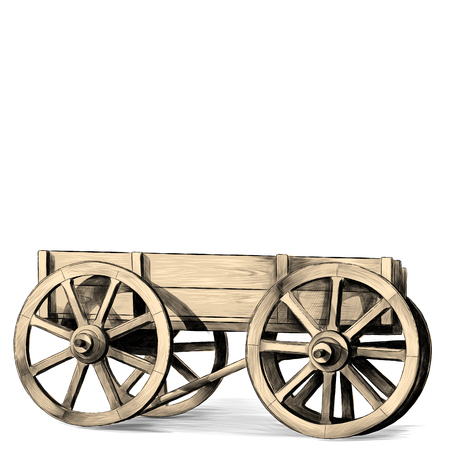 wooden cart with big wheels on white background, sketch vector graphic color pattern