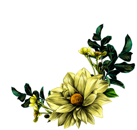 wreath in the form of a bouquet of flower Dahlia twigs with leaves and flowers buttercups, sketch vector graphics color illustration Standard-Bild - 103149816