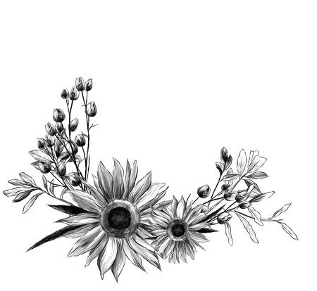 wreath in the form of a bouquet of two sunflower leaves and dry grass, sketch vector graphics monochrome illustration Stock Photo