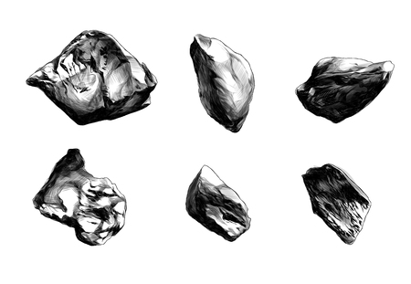 set of six stones of different shapes, sketch vector graphics monochrome illustration