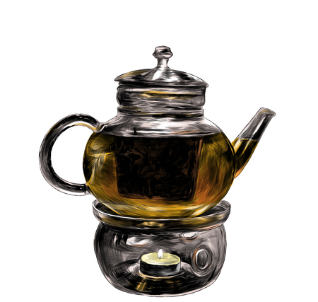 Glass teapot with tea stands on glass stand with decorative candle bottom, sketch vector graphic color illustration on white background Фото со стока