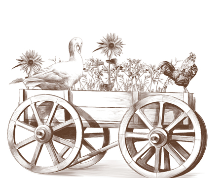 goose and rooster sitting in a wooden cart inside which grows grass and sunflowers, sketch vector graphics monochrome illustration on white background Stock Photo